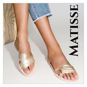 Matisse Gold Capri Leather Slide Sandals